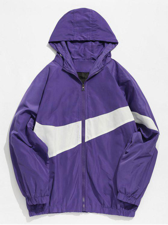3a00fa30e 21% OFF] 2019 Contrast Casual Zipper Lightweight Jacket In PURPLE ...
