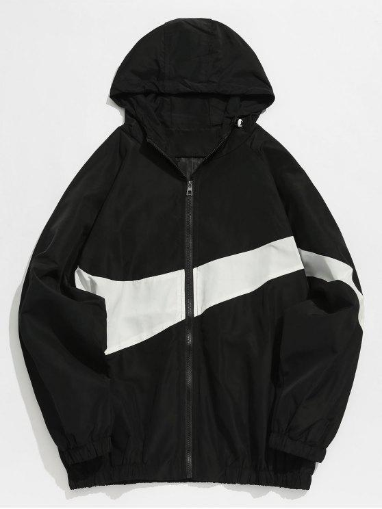 affordable Contrast Casual Zipper Lightweight Jacket - BLACK M