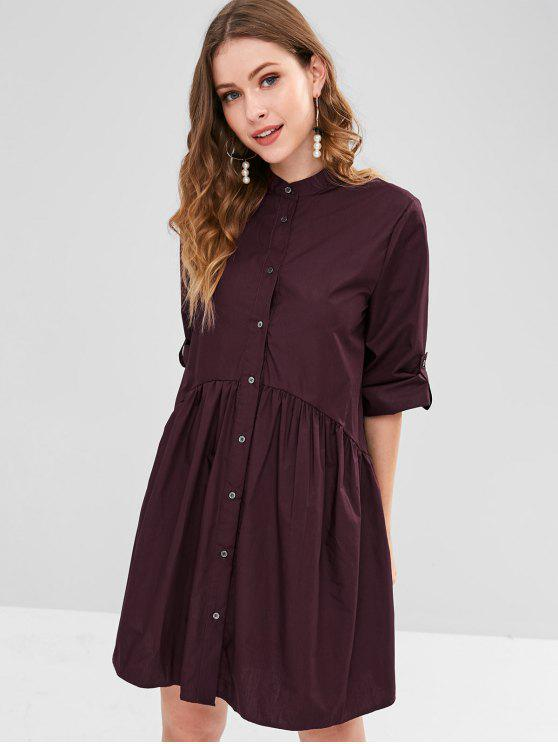Roll Tab Sleeve Smock Shirt Dress   Velvet Maroon L by Zaful