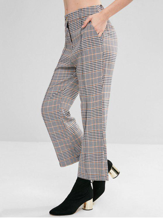 latest Wide Leg Gingham Pants - BLACK S