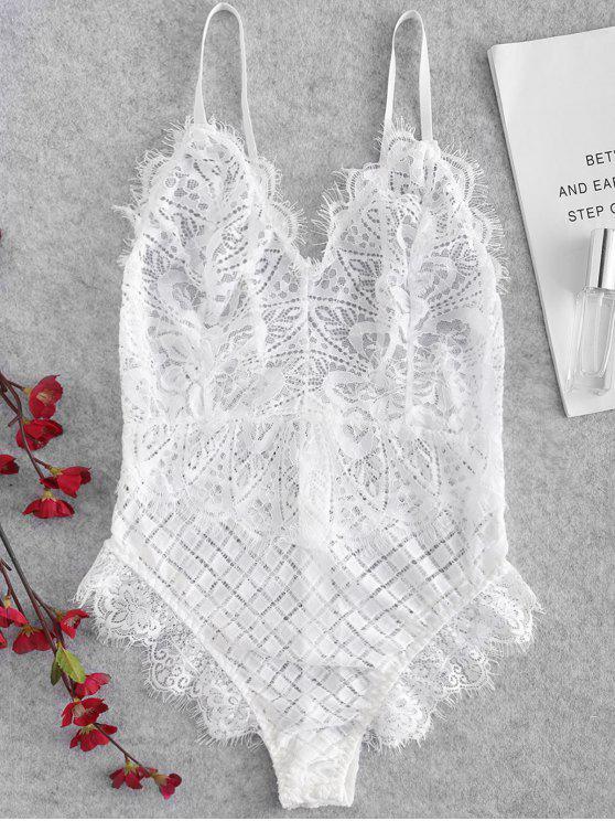 sale Cross Sheer Eyelash Lace Lingerie Teddy Bodysuit - WHITE S