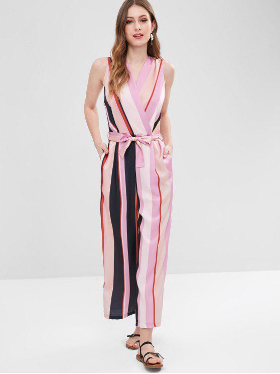 affordable Sleeveless Striped Surplice Wide Leg Jumpsuit - MULTI M
