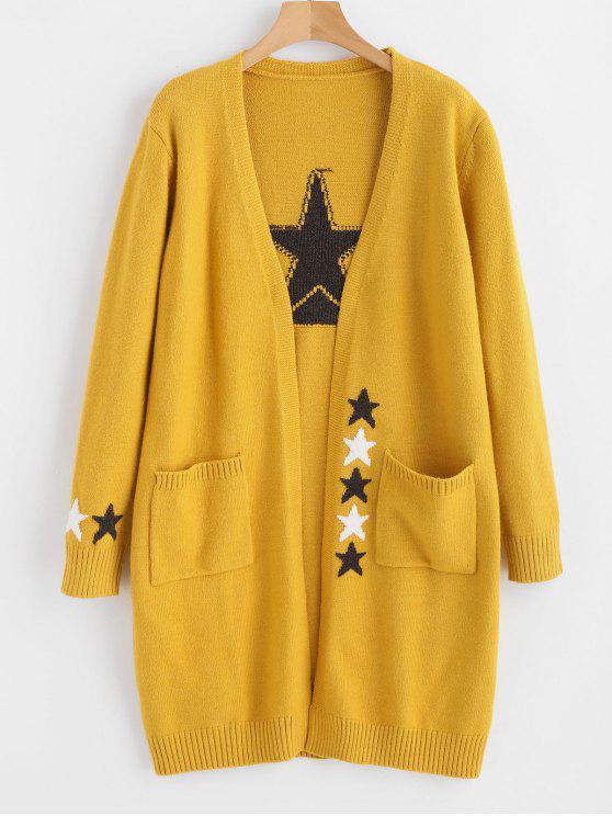 Cárdigan largo con bolsillo de estrella - Amarillo de Sol  Talla única