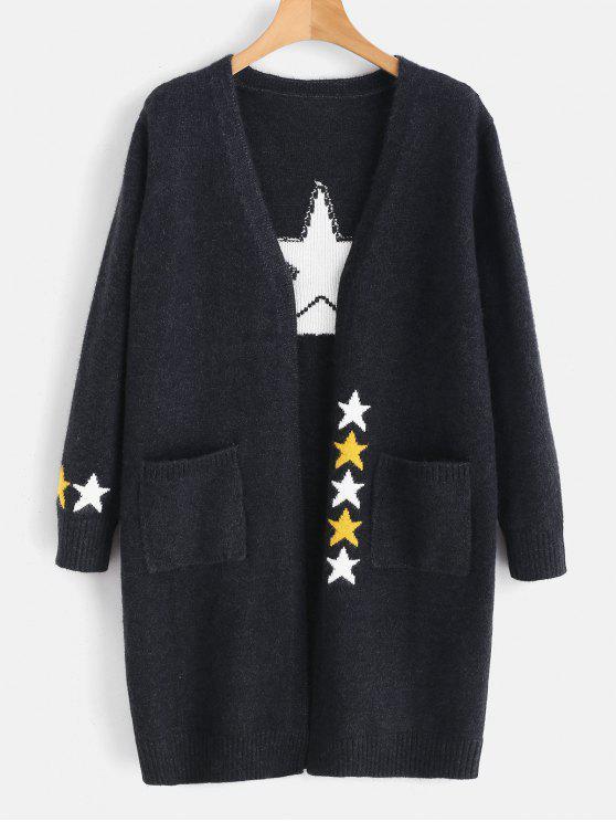 Cardigan Long Etoile avec Poche - Gris Ardoise Foncé Taille Unique