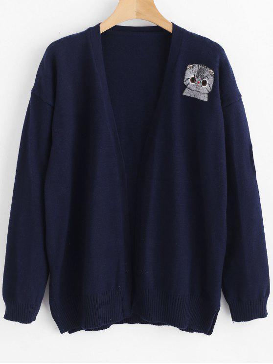 sale Cat Embroidered Drop Shoulder Longline Cardigan - DEEP BLUE ONE SIZE