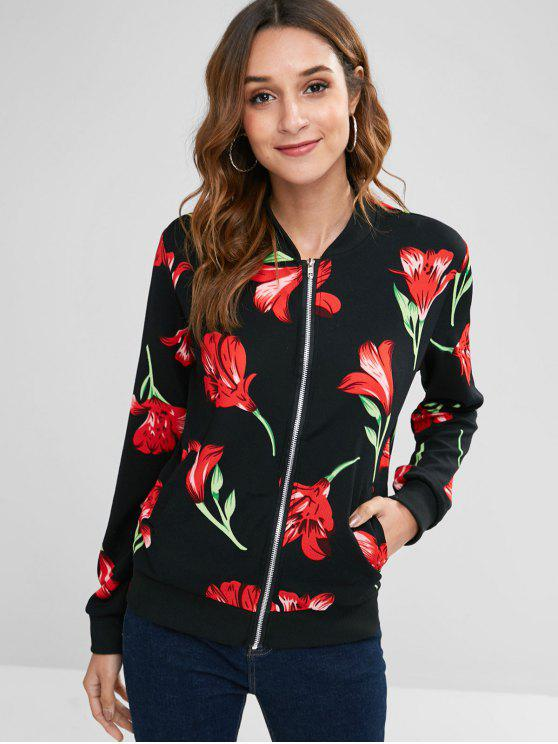 Chaqueta con cremallera con bolsillos delanteros con estampado floral - Negro L