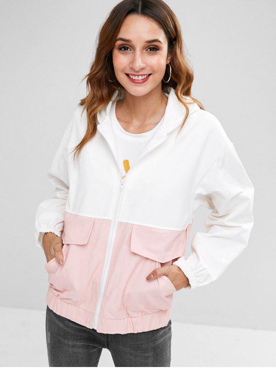 women's Back Cat Pattern Front Pockets Zip Jacket - WHITE S