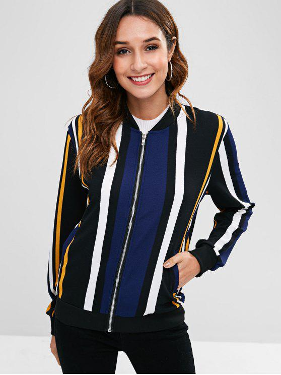 Striped Color Block Zip Jacket - Multicolor S