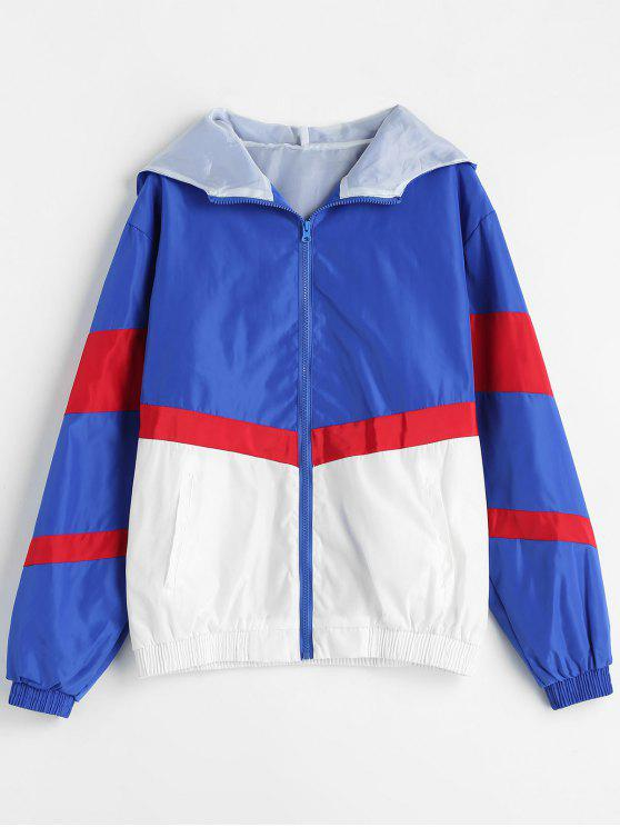 womens Color Block Hooded Windbreaker Jacket - MULTI M