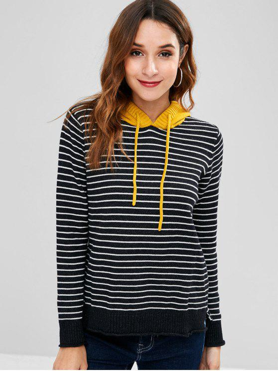 women's Striped Hooded High Low Sweater - BLACK ONE SIZE
