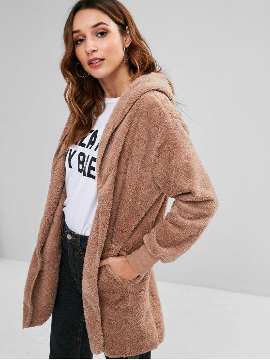 lady Hooded Front Pockets Fluffy Jacket - KHAKI S