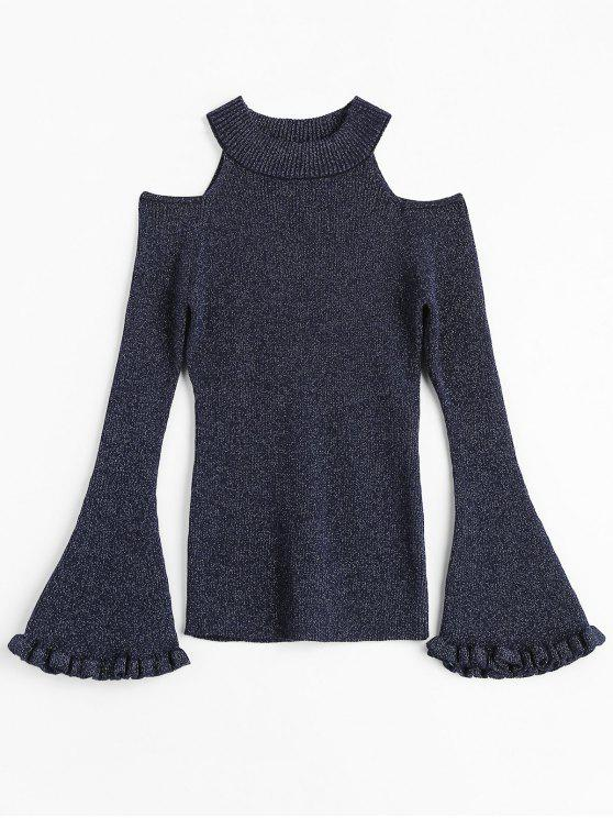 new Glitter Bell Sleeve Cold Shoulder Sweater - DEEP BLUE ONE SIZE