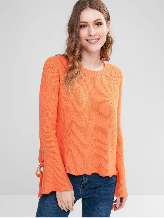 shop Flare Sleeve Lace Up Sweater - DARK ORANGE ONE SIZE