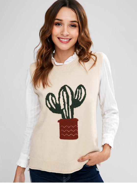 Colete de suéter alto cacto - Damasco Um Tamanho