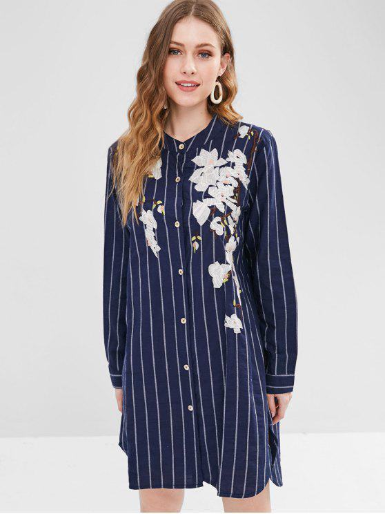 Unique Striped Flower Embroidered Shirt Dress Lapis Blue One Size
