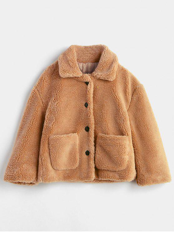 affordable Fluffy Patch Pockets Faux Fur Winter Coat - BROWN M