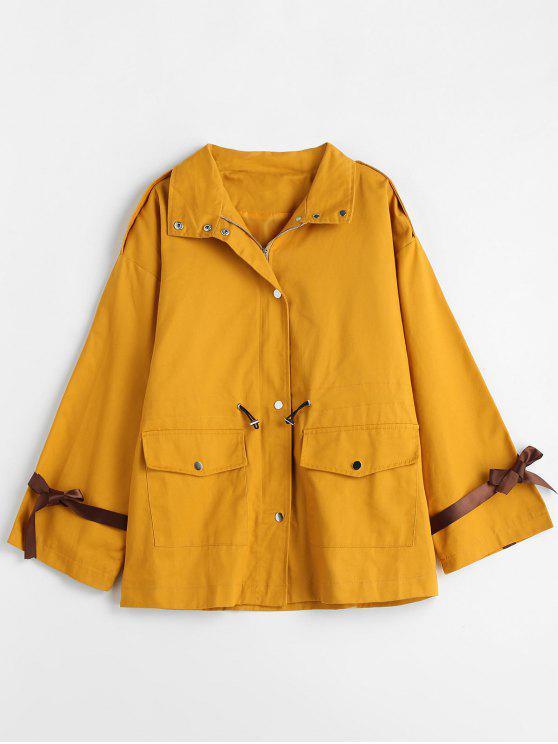 lady Oversized Drawstring Waist Twill Coat - MUSTARD L