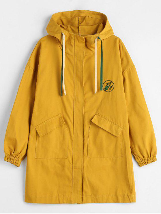 lady Embroidered Hooded Patch Pocket Coat - MUSTARD M