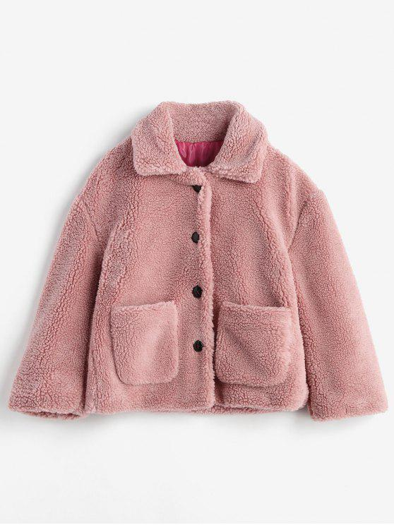 outfits Fluffy Patch Pockets Faux Fur Winter Coat - PINK M