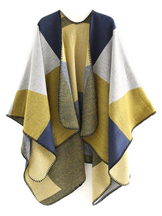 affordable Color Splice Geometry Shawl Scarf - CORN YELLOW