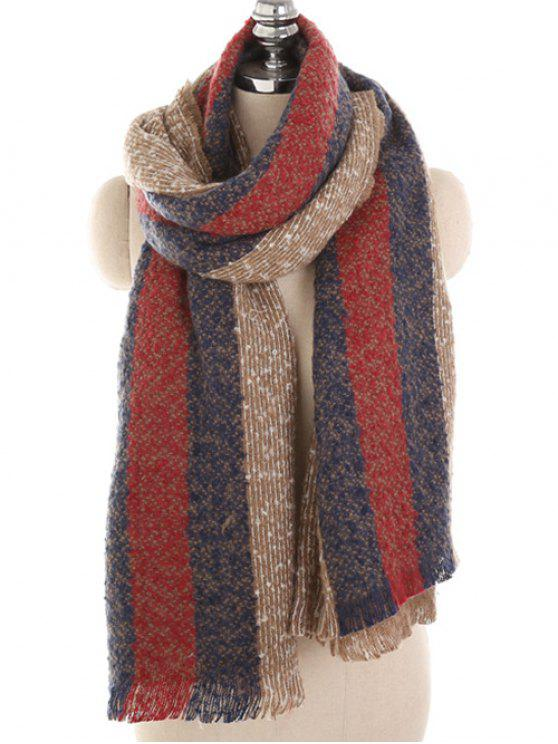 Invierno a rayas espesa larga bufanda - Tan