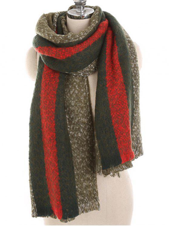Invierno a rayas espesa larga bufanda - Ejercito Verde