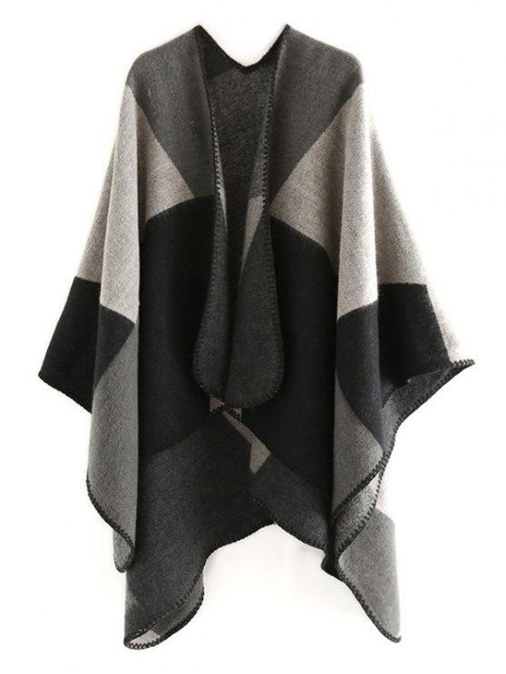 Écharpe châle couleur géométrie épissage - Noir Profond