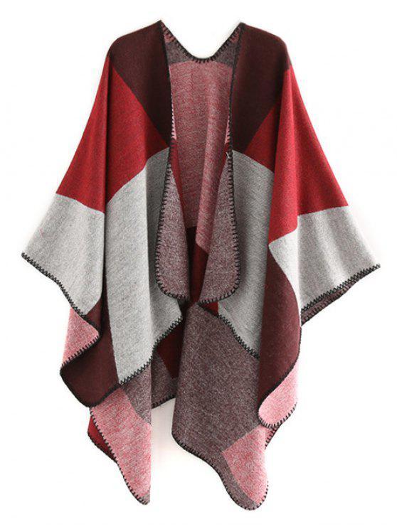 Sciarpa A Scialle Invernale Con Motivo Geometrico - Vino Rosso