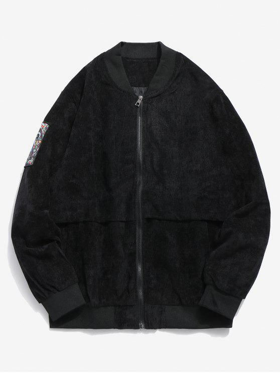online Striped Letter Corduroy Bomber Jacket - BLACK S