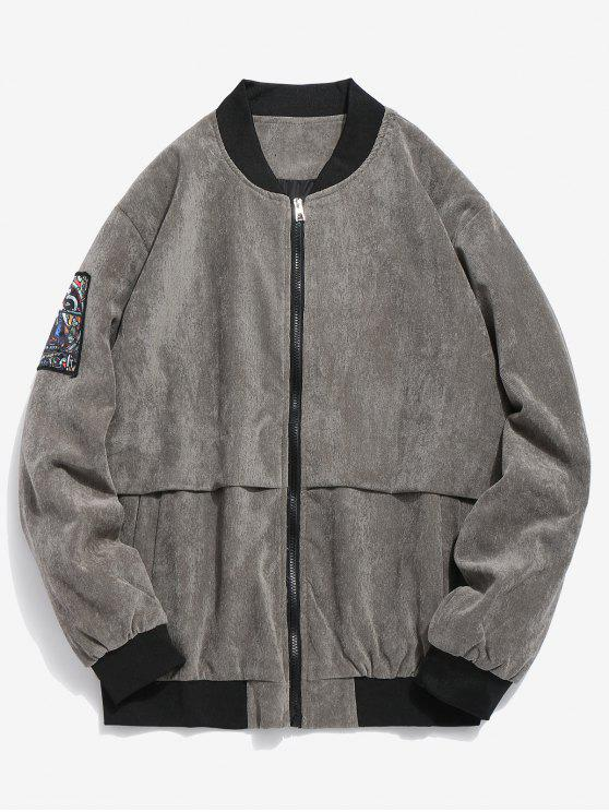 outfit Striped Letter Corduroy Bomber Jacket - GRAY S