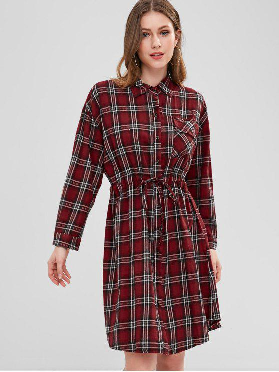 chic Plaid Pocket Button Up Dress - CHERRY RED ONE SIZE