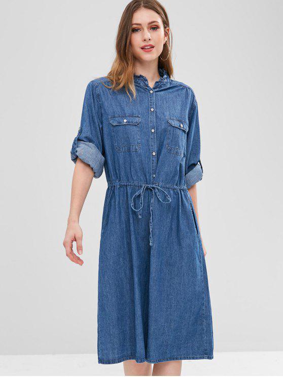 Button Up Pocket Chambray Kleid - Kobaltblau Eine Größe