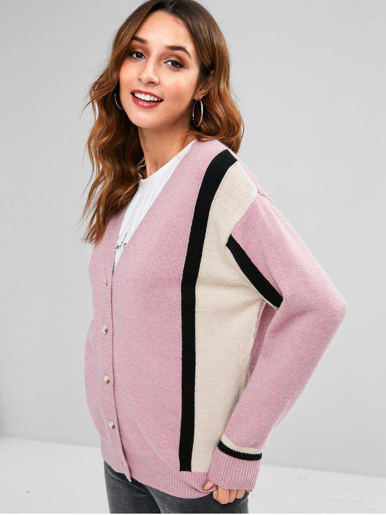 Streifen-Schulter-Cardigan mit Streifen - Rosa Eine Größe
