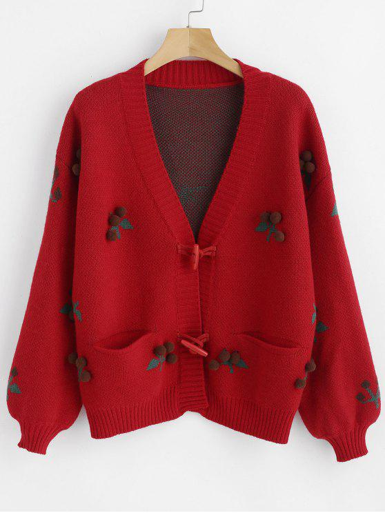 trendy Horn Button Pom Ball Cardigan - RED ONE SIZE