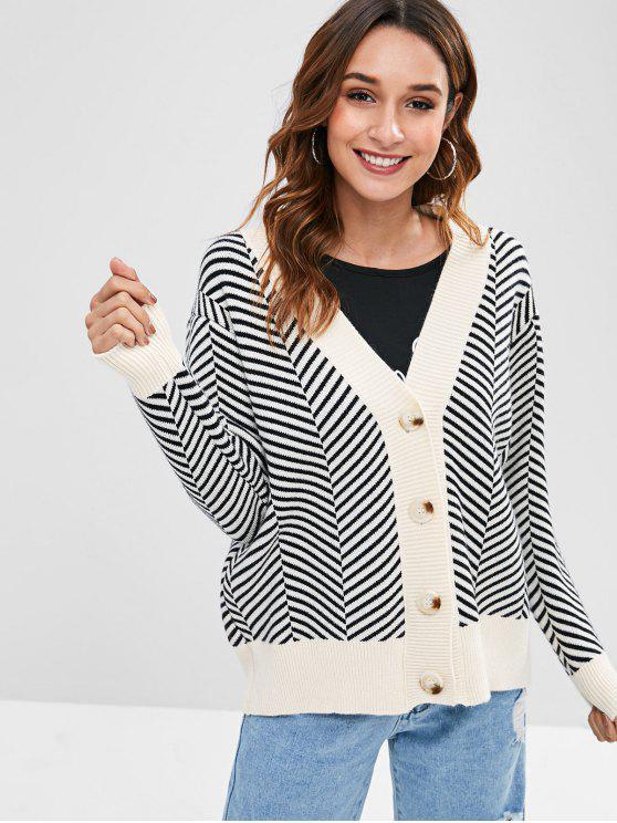 Button Up Striped Contraste Trim Cardigan - Multi Um Tamanho