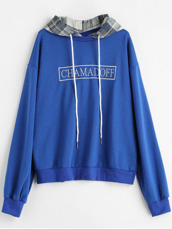lady Checked Hood Embroidered Oversized Hoodie - BLUE ONE SIZE