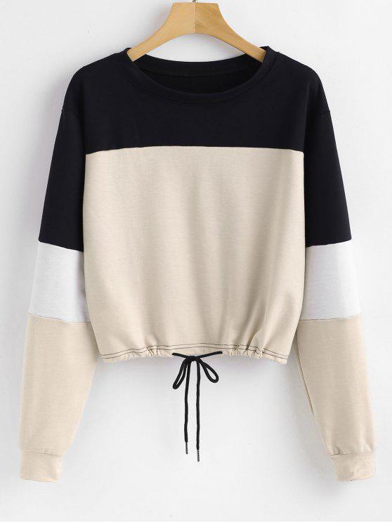 buy Pullover Color Block Sweatshirt - APRICOT L