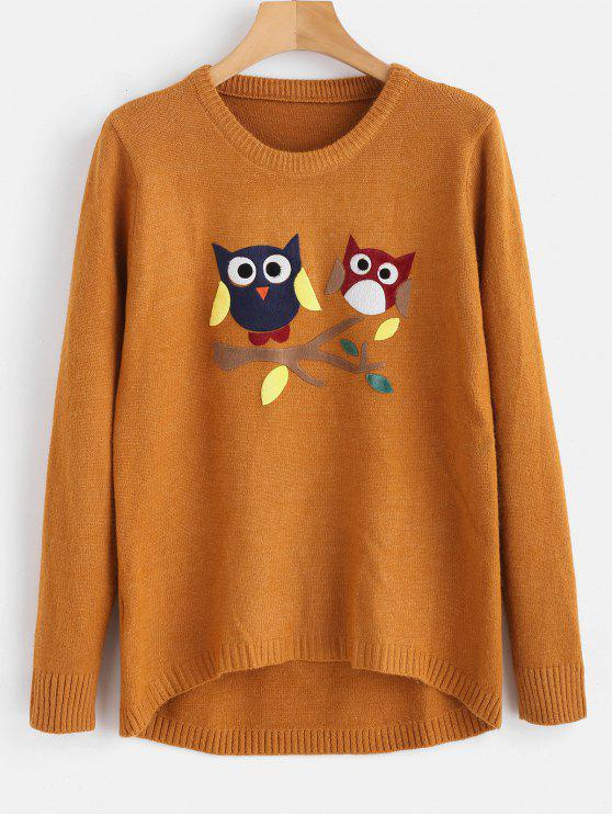 women's Owl High Low Longline Sweater - TIGER ORANGE ONE SIZE