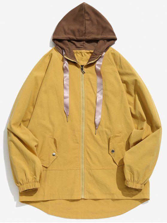 hot Two Tone Casual Hooded Coat - YELLOW XS
