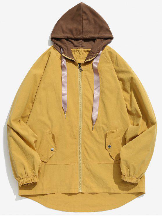 Cappotto Casuale Bicolore Con Cappuccio - Giallo XL