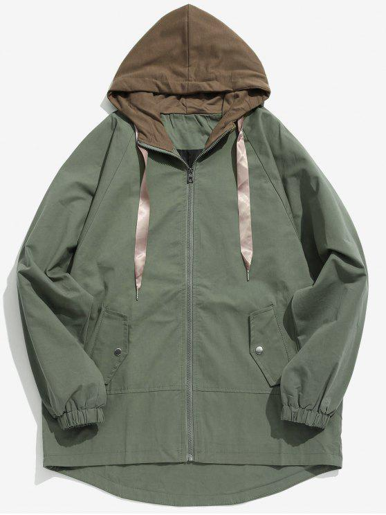 women Two Tone Casual Hooded Coat - ARMY GREEN XL