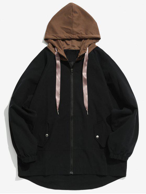 Abrigo con capucha casual de dos tonos - Negro L