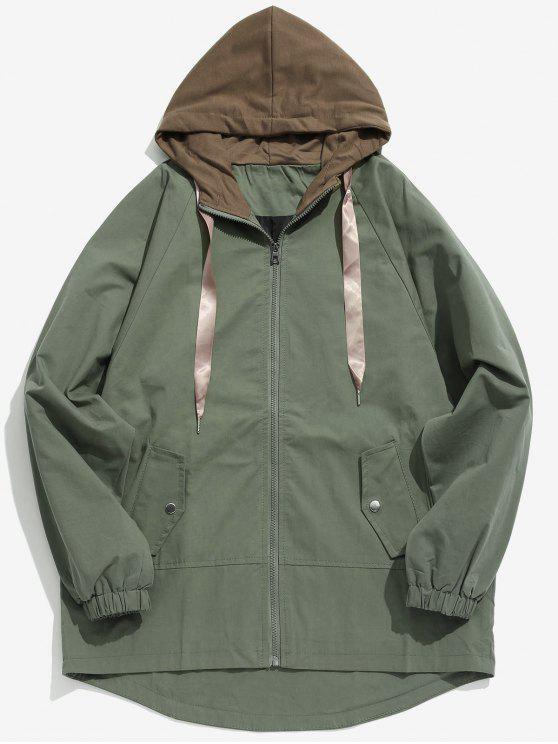 Abrigo con capucha casual de dos tonos - Ejercito Verde XS