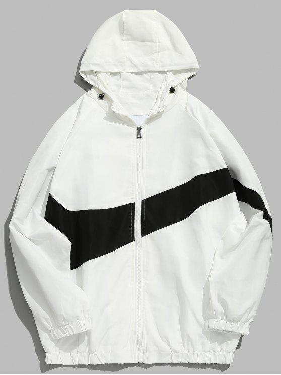 unique Contrast Casual Zipper Lightweight Jacket - WHITE XL