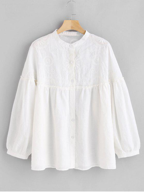 trendy Floral Embroidered Tunic Blouse - WHITE ONE SIZE