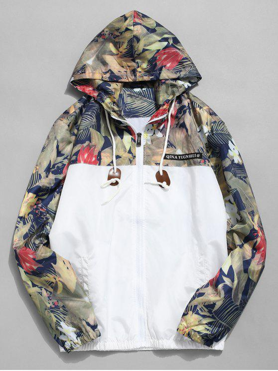 fashion Floral Printed Patchwork Hooded Jacket - WHITE XS