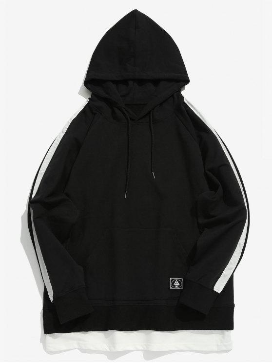 hot Double Hem Striped Contrast Hoodie - BLACK XL