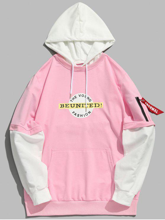 trendy Graphic Pockets False Two Piece Hoodie - LIGHT PINK XL