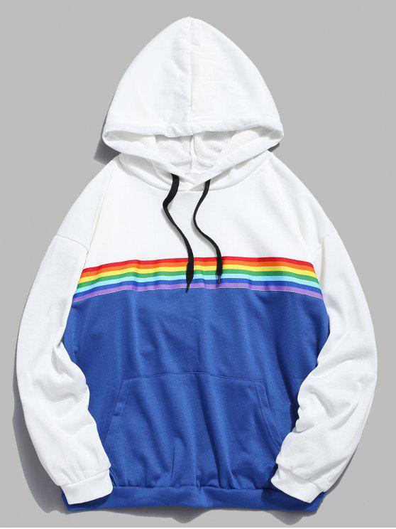 Hoodie listrado do contraste do remendo do arco-íris - Branco M