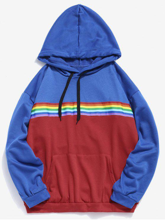 fancy Rainbow Striped Patch Contrast Hoodie - COBALT BLUE M